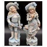 Pair Antique Bisque Porcelain Boy & Girl Statues