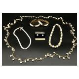 6pc White Beaded Jewelry Grouping