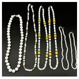 6pc White Beaded Necklace Grouping