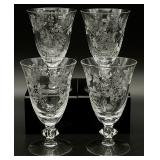 4pc Flower/Butterfly Etched Glasses