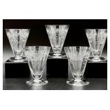 5pc Floral Etched Glassware