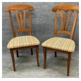 Pair of Side Chairs with Striped Upholstery