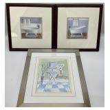 3pc Framed Bathroom Art Prints
