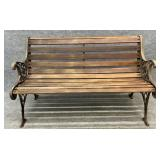 Cast Iron and Wood Outdoor Bench