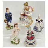 5pc Antique / Vtg Porcelain Figurine Grouping