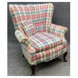 Vintage Plaid Channel Back Chair