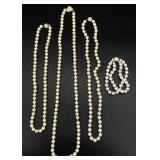 4pc Faux(?) Pearl Necklace & Bracelet Grouping