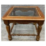 Cherry Glass Insert End Table