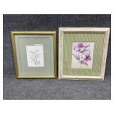 2pc Floral Art Prints Incl. M. Bertrand Signed