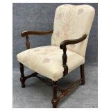 Quality Walnut Frame Floral Arm Chair