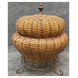Wicker Lift Top Decorative Basket