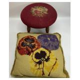 2pc Vintage Needlework Stool & Pillow