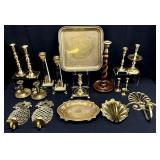 19pc Brass Candle Holders, Wall Sconces & More