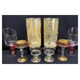 8pc Glass Candle Holders Group