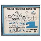 1982 NC Tarheels Basketball Caricature Poster