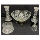 5pc Brass Footed Glass Bowl, Cut Crystal & More