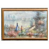 Lake Scene Oil on Canvas Signed Kent