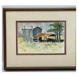 Original Barn Scene Watercolor Art Signed
