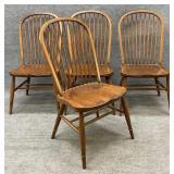 Set of 4 Oak Windsor Back Chairs