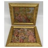 Pair Tapestries Art in Gold Frames