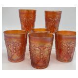 6pc Carnival Glass Orange Glassware