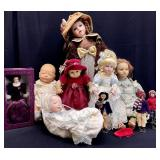 10pc Vintage Porcelain & More Doll Grouping