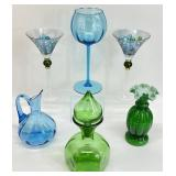 6pc Art Glass / Colored Glass Grouping