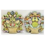 Pair Painted Fruit Basket Ceramic Wall Art
