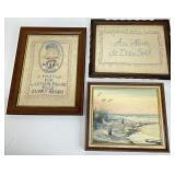 Antique Needlework & Shore Scene OOC Signed Art