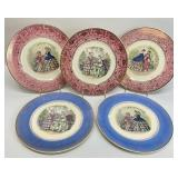 5pc Century by Salem Victorian Gold Rimmed Plates