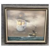 Ghost Captain & Ship Oil on Canvas