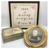 Antique Photo, Framed Crosstitch, & Wooden Box