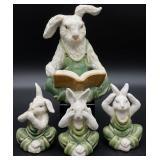 4pc Speak, See, Hear No Evil Rabbits