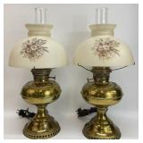 Pair Rayo Brass Hurricane Oil Lamps - Converted