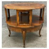 Cherry French Provincial Drum Table