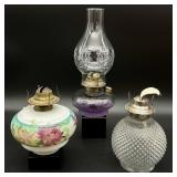 3pc Antique Oil Lamp Grouping