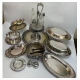 Silver Plate Cruet Set and Serving Pieces