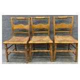 3 Maple Rush Bottom Chairs