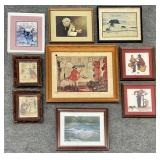9pc Vintage Framed Wall Art Grouping