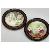 Pair Antique Floral Plates in Wall Frames
