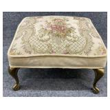 Floral Upholstered Ottoman