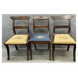 Three Antique Needlepoint Chairs