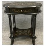 Black Paint Decorated One Drawer Stand