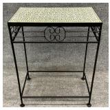 Metal Base Tile Top Accent Table