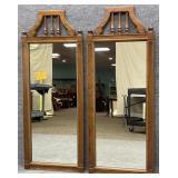 Pair Mid Century Oak Framed Mirrors