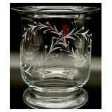 Large Etched Glass Vase / Candle Holder