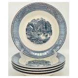 5pc Currier & Ives Soup Bowls by Royal