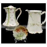 3pc Antique/Vtg Porcelain Pitchers & Bowl