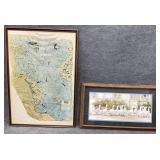 2pc Large Vintage Map & Duck Prints