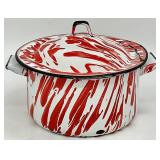 Red Spatter Enamelware Cooking Pot w/Lid